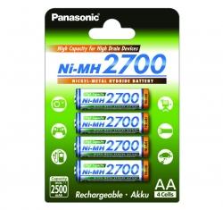 Аккумуляторы PANASONIC AA (BK-3HGAE/4BE) 2700 mAh, 4 шт.